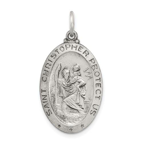 7/8in St. Christopher Medal Baseball -  Sterling Silver
