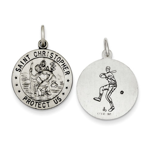 Sterling Silver 18mm St. Christopher Baseball Medal