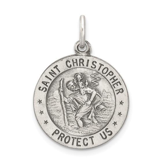 Sterling Silver 18mm St. Christopher Baseball Medal