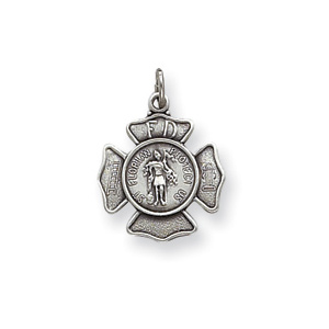 Sterling Silver 5/8in St. Florian Badge Charm