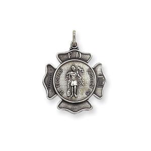 Sterling Silver 15/16in Engravable St. Florian Badge Medal