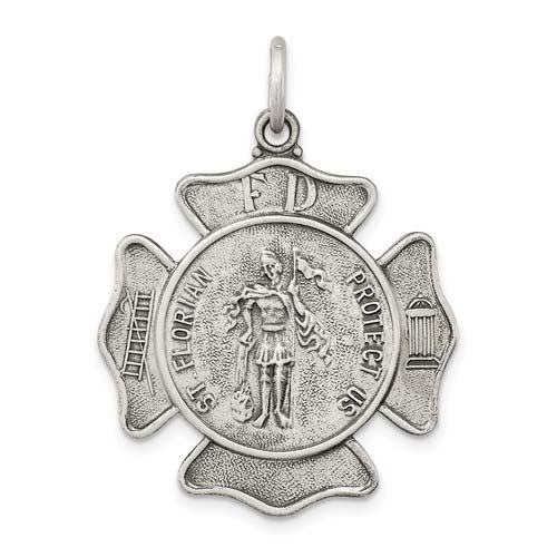 Sterling Silver 15/16in Engravable St. Florian Badge Medal