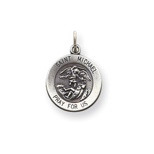 St. Michael Charm 1/2in - Sterling Silver
