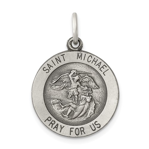 St. Michael Medal 11/16in - Sterling Silver
