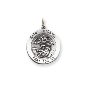 St. Michael Medal 7/8in - Sterling Silver