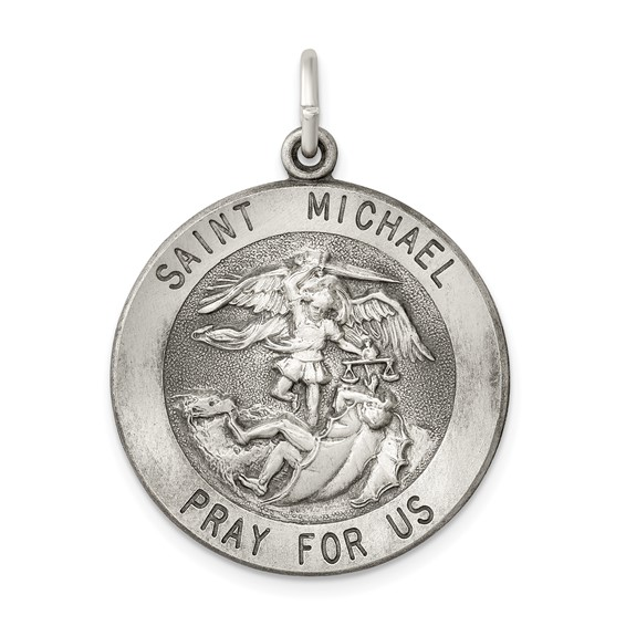 Sterling Silver St. Michael Medal 7/8in