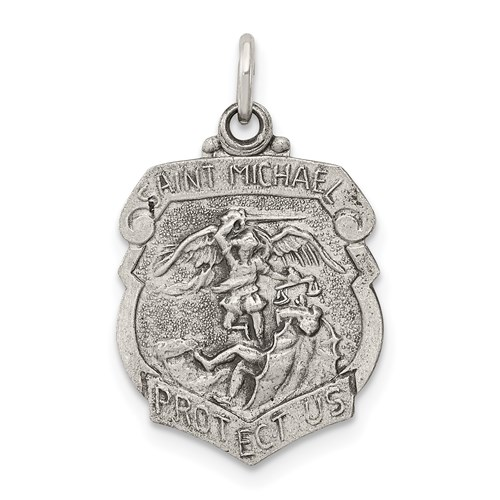 Sterling Silver 5/8in St. Michael Badge Medal