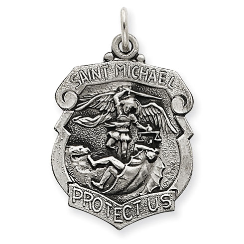 Sterling Silver 15/16in St. Michael Badge Medal