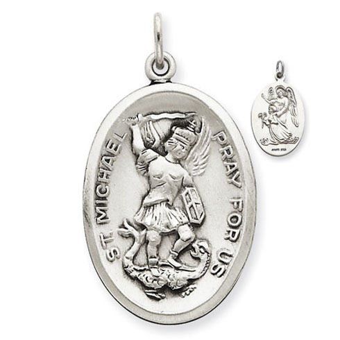 1in St. Michael Medal - Sterling Silver