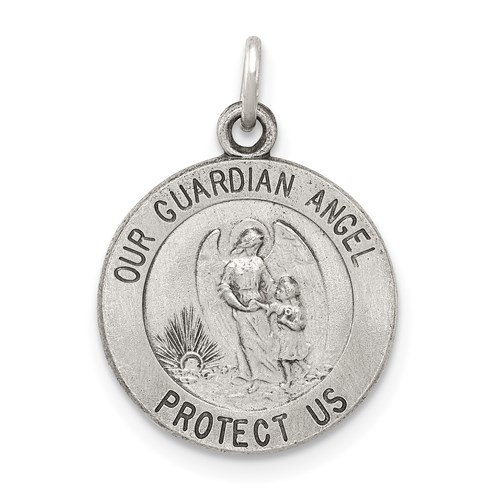 Sterling Silver 1/2in Round Guardian Angel Medal