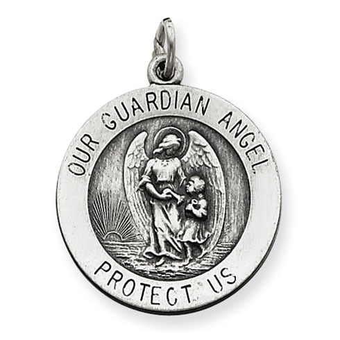 Sterling Silver 11/16in Round Guardian Angel Medal