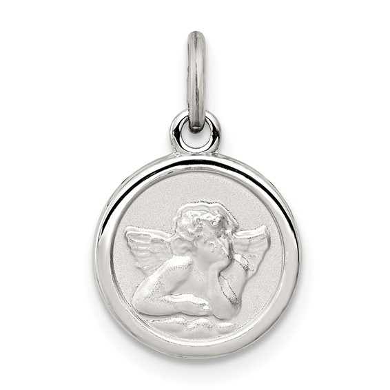 Sterling Silver 3/8in Round Angel Medal Charm