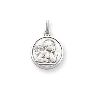 Sterling Silver 5/8in Round Angel Medal Charm