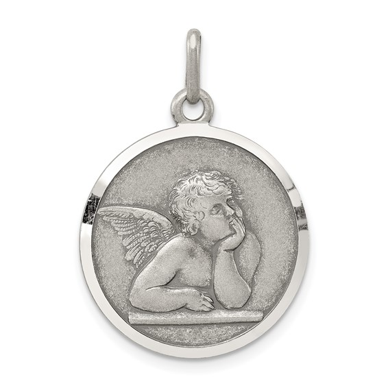 Sterling Silver 3/4in Italian Angel Medal
