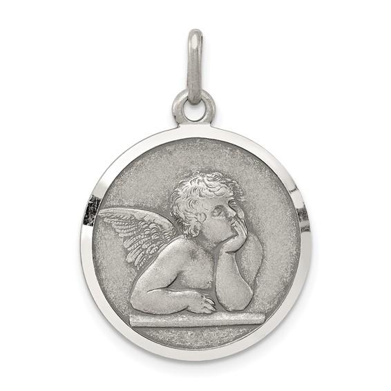 Sterling Silver 3/4in Italian Angel Medal