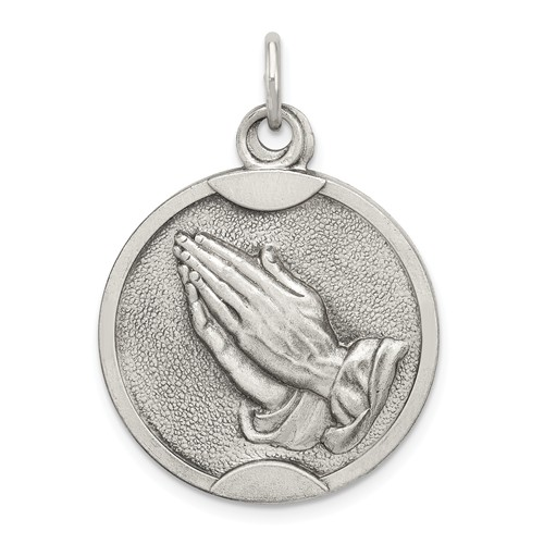 Praying Hands Medal 7/8in - Sterling Silver