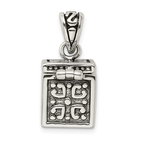 Sterling Silver 3-D Square Prayer Box Pendant