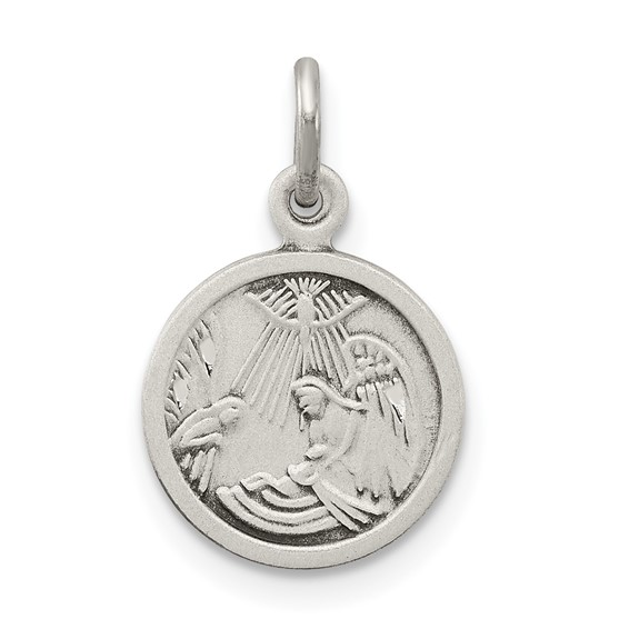 Sterling Silver 3/8in Round Antiqued Baptism Medal