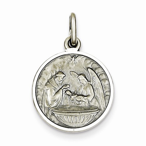 Sterling Silver 5/8in Round Baptism Medal