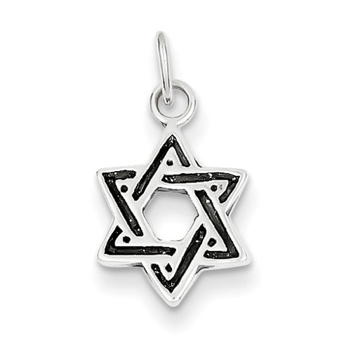 Antiqued Star of David 3/8in - Sterling Silver