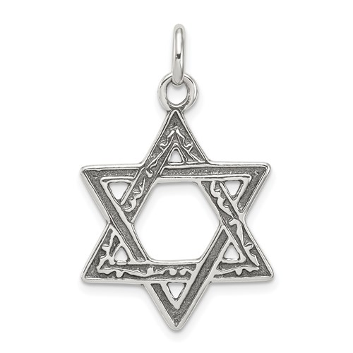 Sterling Silver 7/8in Antiqued Star of David Pendant