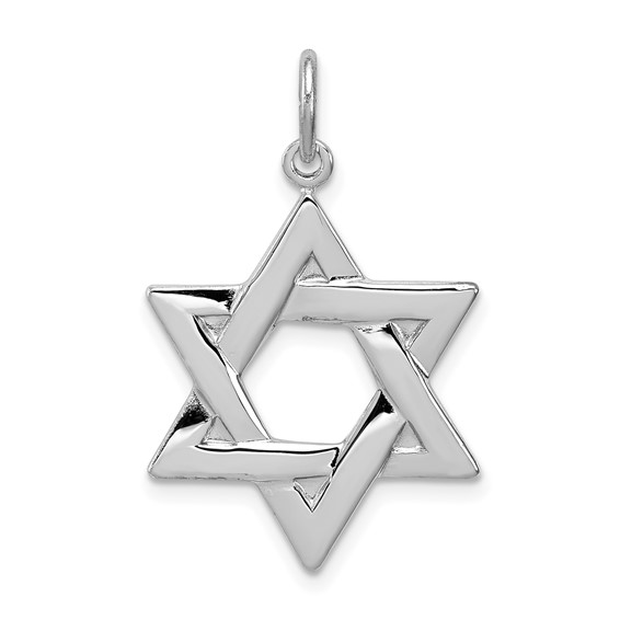 Sterling Silver 13/16in Polished Star of David Charm