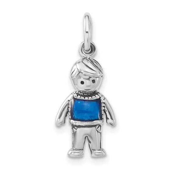 Sterling Silver Enameled Marine Blue Boy Charm