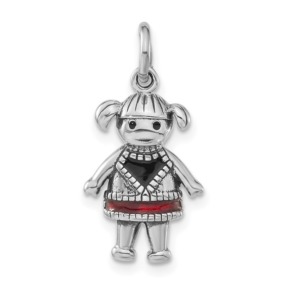 Sterling Silver Enameled Red Girl Charm