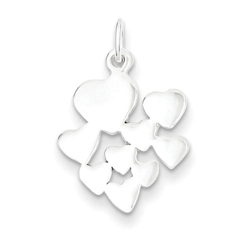 9/16in Heart Cluster Charm - Sterling Silver