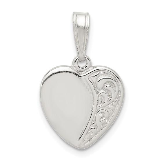 Sterling Silver 1/2in Patterned Heart Pendant