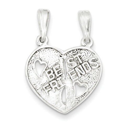 5/8in Best Friends Break-apart Heart - Sterling Silver