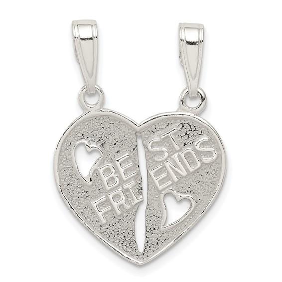 5/8in Best Friends Break-apart Heart - Sterling Silver