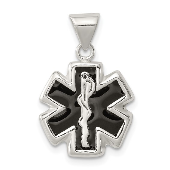 Enameled Medical Charm 1/2in - Sterling Silver