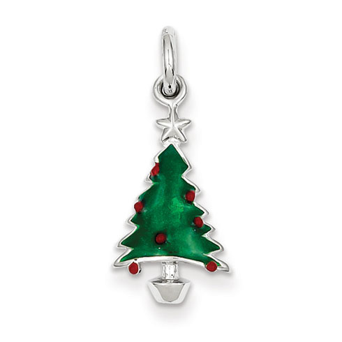 Sterling Silver Rhod Enameled Green Christmas Tree Charm