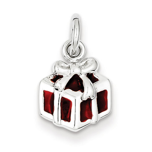 Sterling Silver Rhod Enameled Red Gift Box Charm