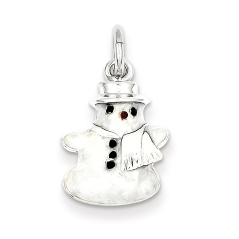 Sterling Silver Rhod Enameled Snowman Charm