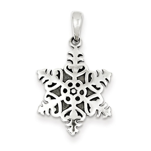 Sterling Silver 3/4in Antiqued Snowflake Pendant