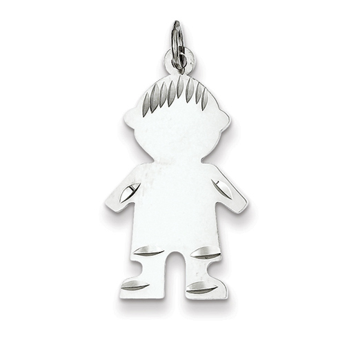 Sterling Silver 1in Engravable Boy Charm