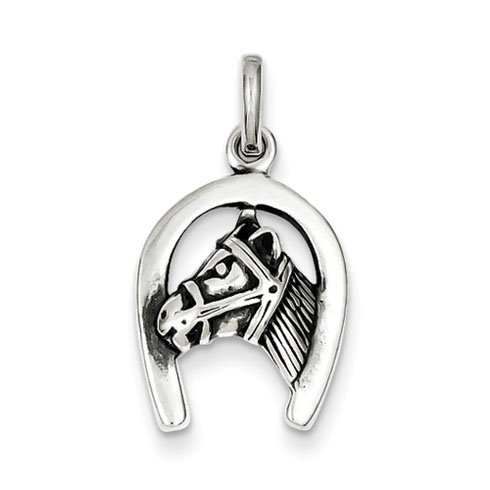 Sterling Silver 5/8in Antiqued Horse in Horseshoe Charm