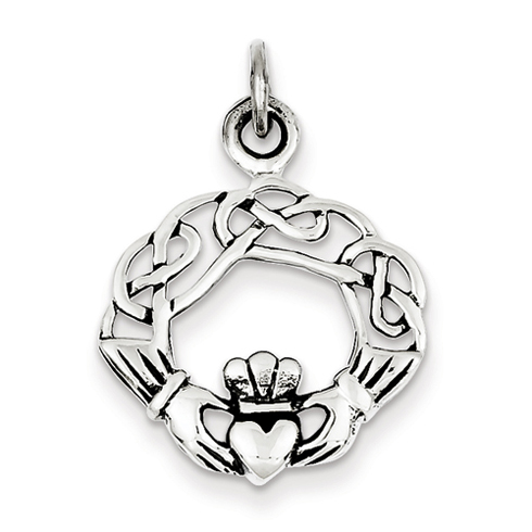 Sterling Silver 3/4in Antiqued Claddagh Pendant
