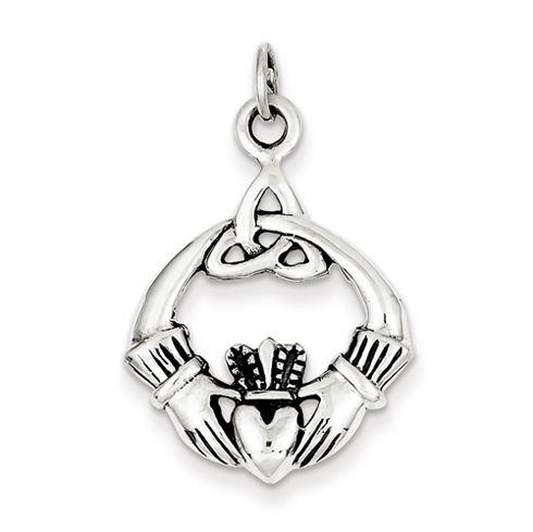 Sterling Silver 15/16in Antiqued Claddagh Pendant