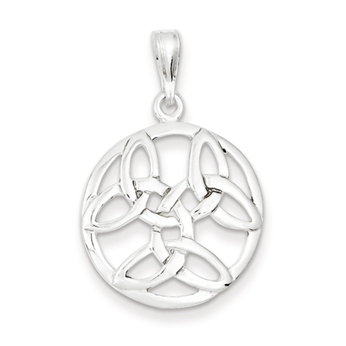 Sterling Silver 3/4in Round Celtic Knot Pendant