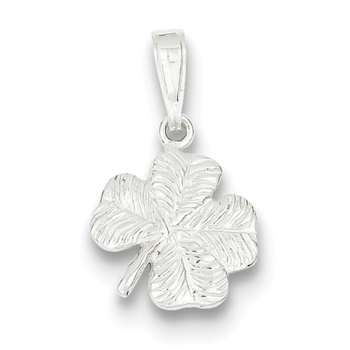 Sterling Silver Four Leaf Clover Charm 1/2in