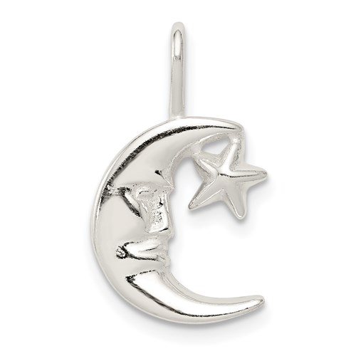 Moon with Star Charm 1/2in - Sterling Silver