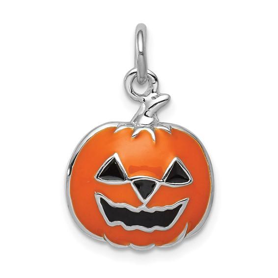 Sterling Silver Orange Jack-a-Lantern Charm