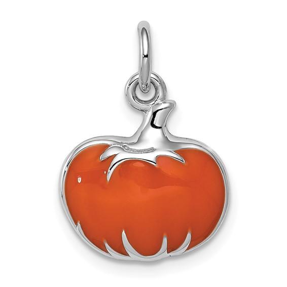 Sterling Silver Orange Enameled Pumpkin Charm