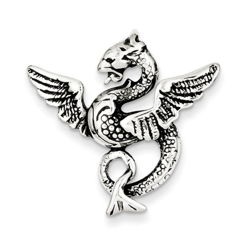 Sterling Silver 1in Antiqued Dragon Charm with Hidden Bail