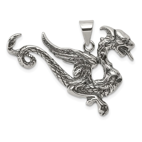 Sterling Silver 1in Antiqued Flying Dragon Charm
