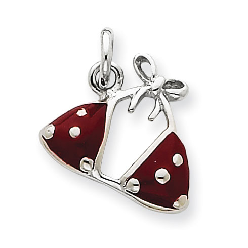 Sterling Silver Enameled Red Bikini Top Charm