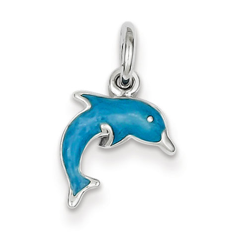 Sterling Silver Enameled Dolphin Charm
